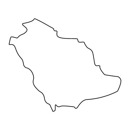 Map of Saudi Arabia - outline. Silhouette of Saudi Arabia map vector illustration Illustration