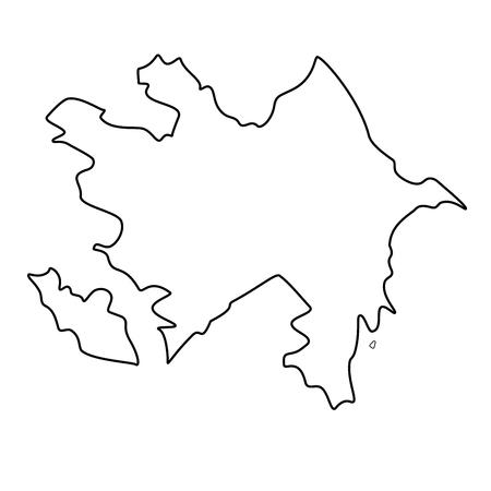 Map of Azerbaijan - outline. Silhouette of Azerbaijan map vector illustration Illustration