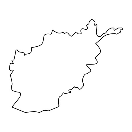 Map of Afghanistan - outline. Silhouette of Afghanistan map  illustration