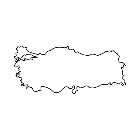 Map of Turkey - outline. Silhouette of Turkey map  illustration