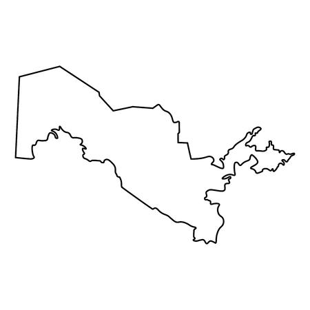 Map of Uzbekistan - outline. Silhouette of Uzbekistan map  illustration