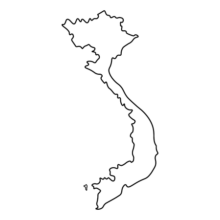 Map of Vietnam - outline. Silhouette of Vietnam map illustration