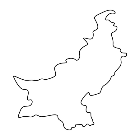 Map of Pakistan - outline. Silhouette of Pakistan map  illustration