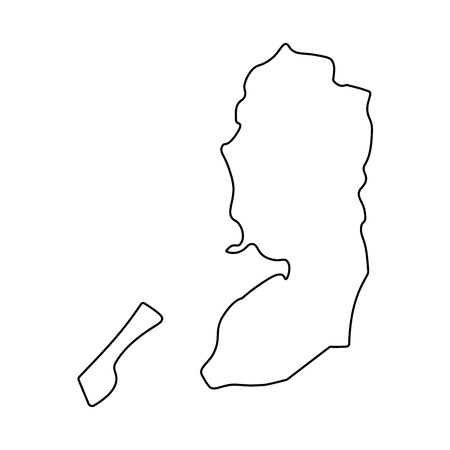 Map of Palestine - outline. Silhouette of Palestine map  illustration