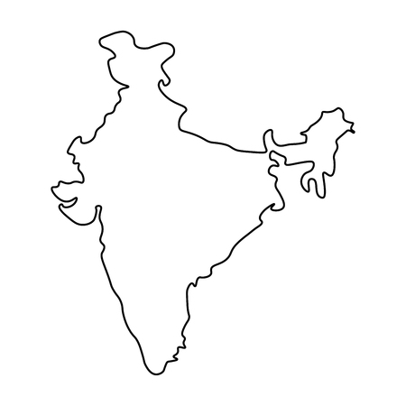 Map of India - outline. Silhouette of India map  illustration Banque d'images