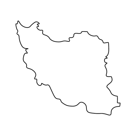 Map of Iran - outline. Silhouette of Iran map  illustration