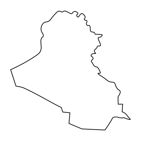Map of Iraq - outline. Silhouette of Iraq map  illustration Stock Photo
