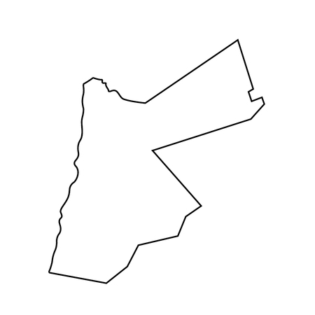Map of Jordan - outline. Silhouette of Jordan map  illustration 스톡 콘텐츠