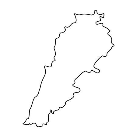 Map of Lebanon - outline. Silhouette of Lebanon map illustration