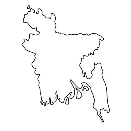 Map of Bangladesh - outline. Silhouette of Bangladesh map  illustration Stock Photo