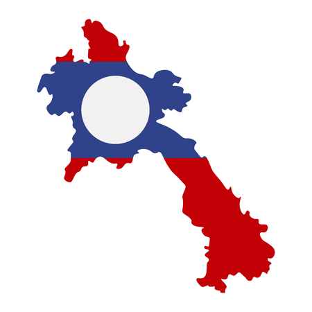 Map of Laos with flag inside. Laos map vector illustration