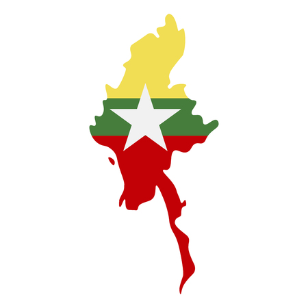 Map of Myanmar with flag inside. Myanmar map vector illustration