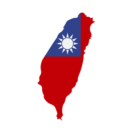Map of Taiwan with flag inside. Taiwan map vector illustration