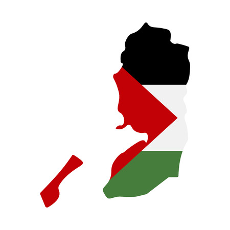 map of Palestine with flag inside. Palestine map  illustration