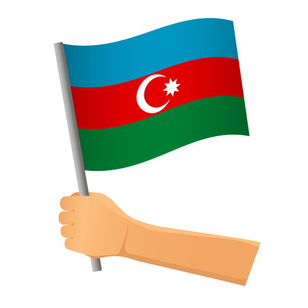 Azerbaijan flag in hand. Patriotic background. National flag of Azerbaijan vector illustration