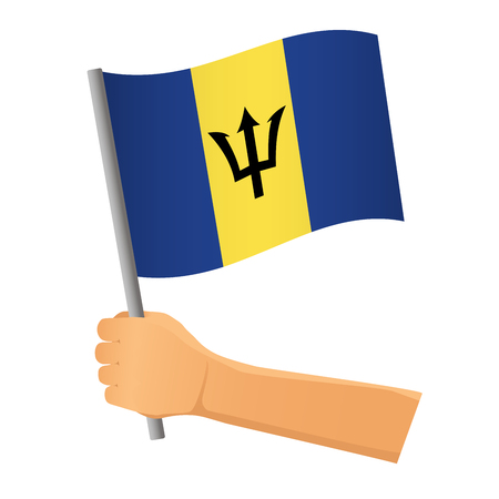 Barbados flag in hand. Patriotic background. National flag of Barbados vector illustration Stock Vector - 125689981