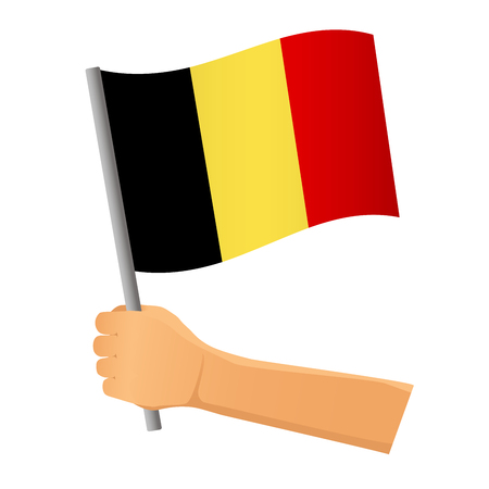 Belgium flag in hand. Patriotic background. National flag of Belgium vector illustration