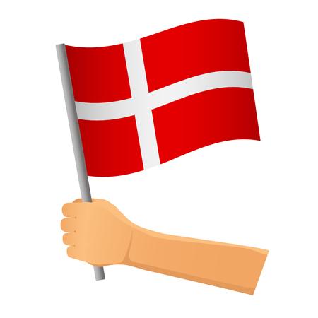 Denmark flag in hand. Patriotic background. National flag of Denmark vector illustration