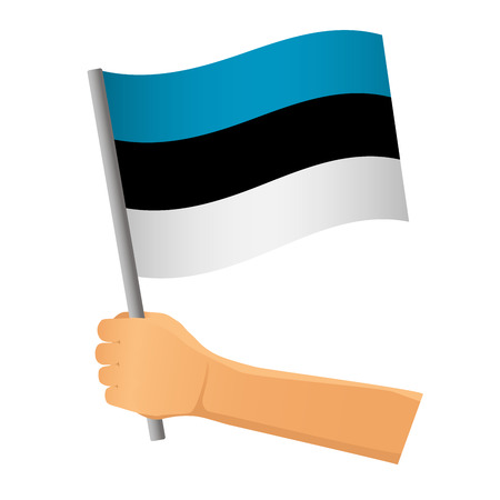 Estonia flag in hand. Patriotic background. National flag of Estonia vector illustration  イラスト・ベクター素材
