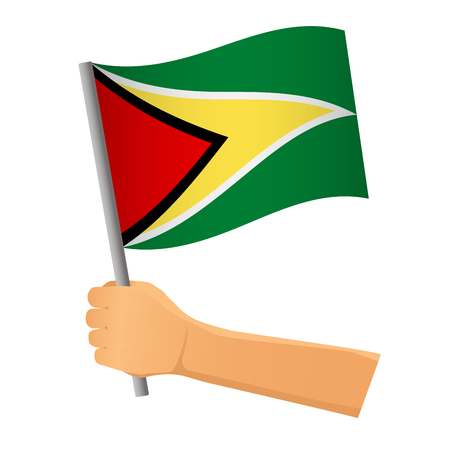 Guyana flag in hand. Patriotic background. National flag of Guyana vector illustration