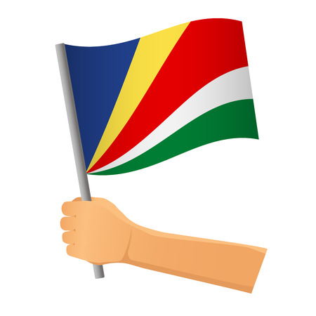 Seychelles flag in hand. Patriotic background. National flag of Seychelles vector illustration