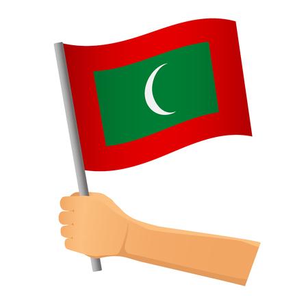 Maldives flag in hand. Patriotic background. National flag of Maldives  illustration