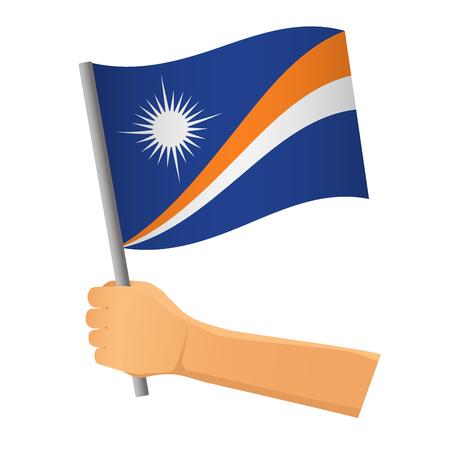 Marshall Islands flag in hand. Patriotic background. National flag of Marshall Islands  illustration