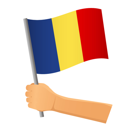 Chad flag in hand. Patriotic background. National flag of Chad  illustration