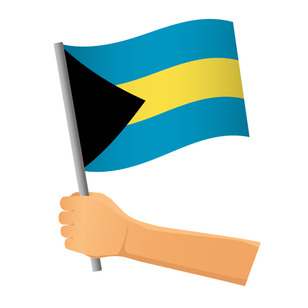 Bahamas flag in hand. Patriotic background. National flag of Bahamas  illustration