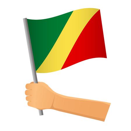 Congo flag in hand. Patriotic background. National flag of Congo  illustration Standard-Bild - 116566703