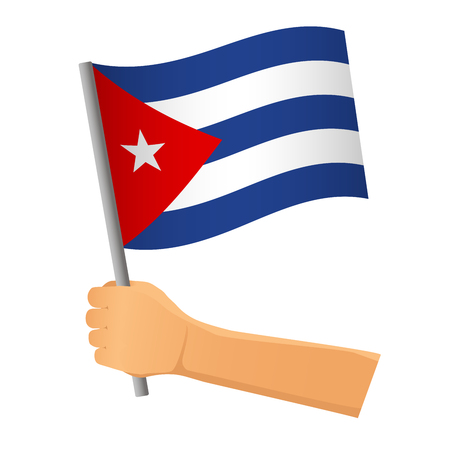 Cuba flag in hand. Patriotic background. National flag of Cuba  illustration
