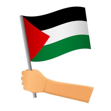 Palestine flag in hand. Patriotic background. National flag of Palestine  illustration Stok Fotoğraf
