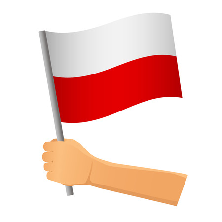 Poland flag in hand. Patriotic background. National flag of Poland illustration