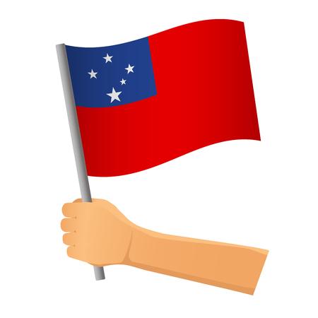 Samoa flag in hand. Patriotic background. National flag of Samoa  illustration Stock Photo