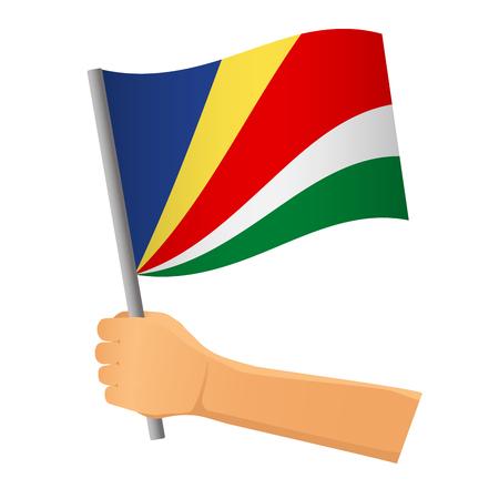 Seychelles flag in hand. Patriotic background. National flag of Seychelles  illustration