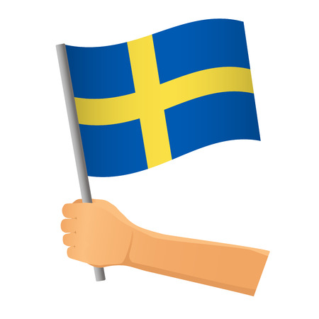 Sweden flag in hand. Patriotic background. National flag of Sweden  illustration