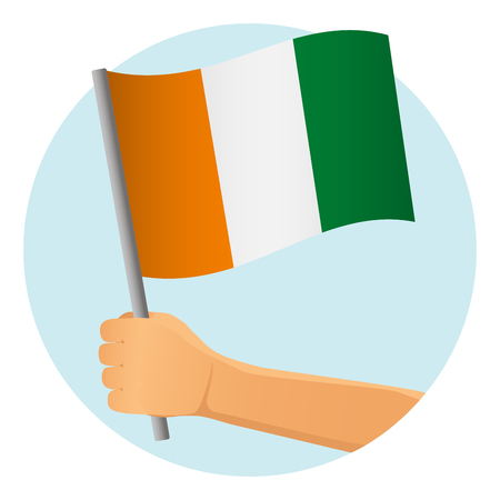 Cote divoire - Ivory Coast flag in hand. Patriotic background. National flag of Cote divoire - Ivory Coast vector illustration
