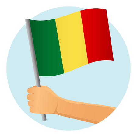 Mali flag in hand. Patriotic background. National flag of Mali vector illustration