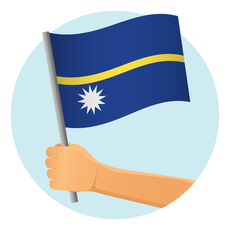 Nauru flag in hand. Patriotic background. National flag of Nauru vector illustration