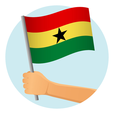 Ghana flag in hand. Patriotic background. National flag of Ghana vector illustration Ilustração