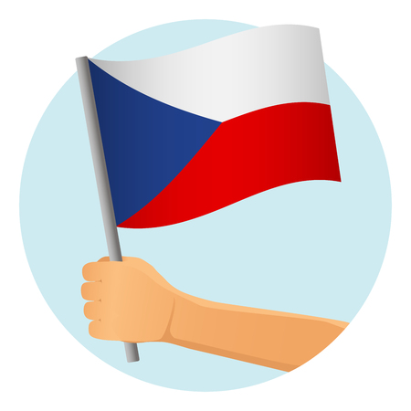 Czech Republic flag in hand. Patriotic background. National flag of Czech Republic vector illustration