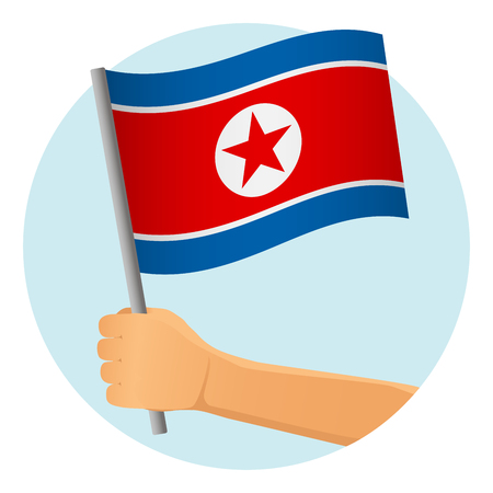 North Korea flag in hand. Patriotic background. National flag of North Korea vector illustration Illustration