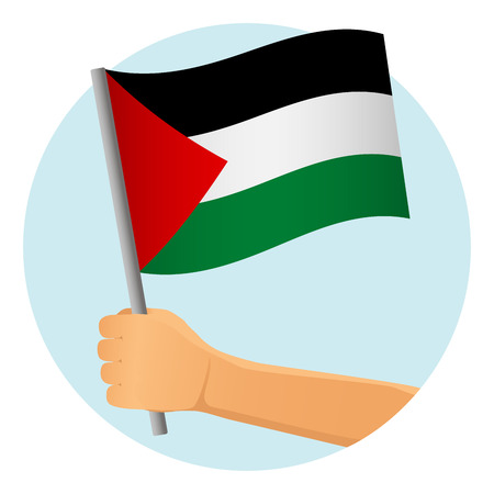 Palestine flag in hand. Patriotic background. National flag of Palestine  illustration Stock Photo