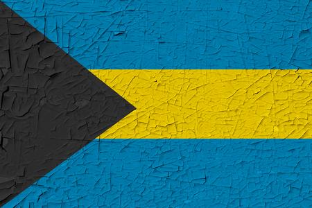 Bahamas painted flag. Patriotic old grunge background. National flag of Bahamas