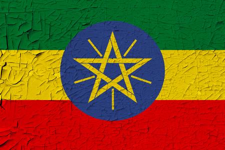 Ethiopia painted flag. Patriotic old grunge background. National flag of Ethiopia Stock Photo