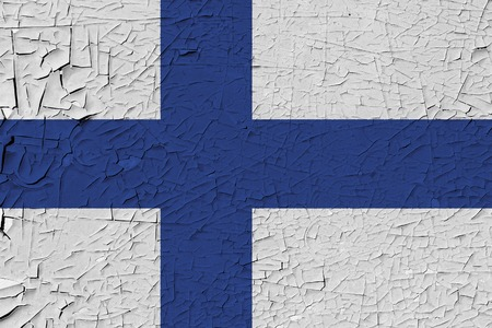 Finland painted flag. Patriotic old grunge background. National flag of Finland
