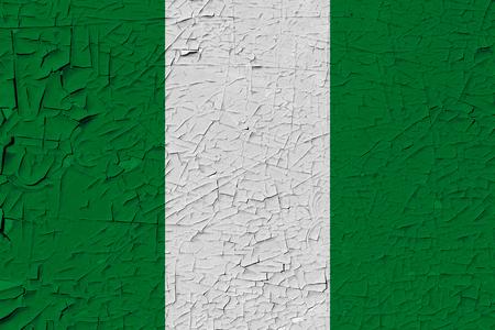 Nigeria painted flag. Patriotic old grunge background. National flag of Nigeria