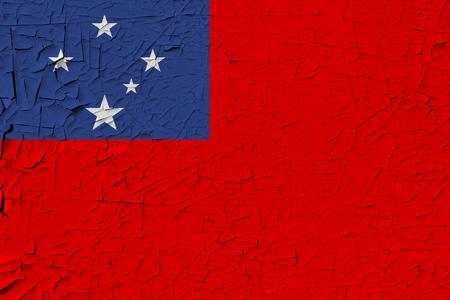Samoa painted flag. Patriotic old grunge background. National flag of Samoa