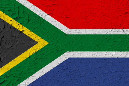 South Africa painted flag. Patriotic old grunge background. National flag of South Africa