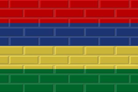 Mauritius painted flag. Patriotic brick flag illustration background. National flag of Mauritius